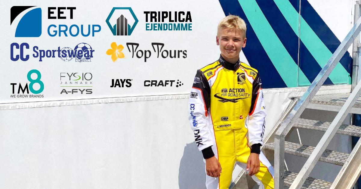 EET Group, TM8, Triplica Ejendomme, Top Tours, CC sportswear støtter JOnathan Weywadt ved FIA Karting Academy