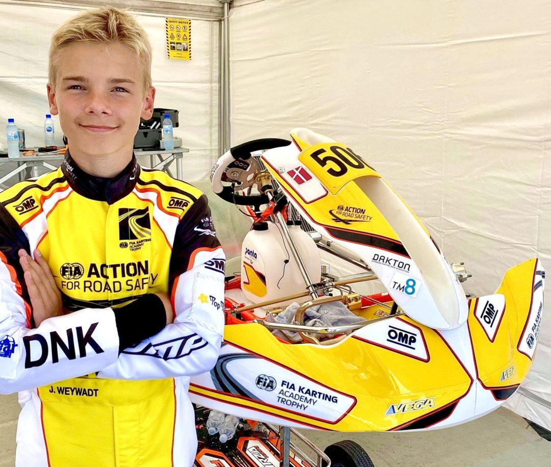 Jonathan Weywadt FIA Karting Academy Gokart Karting TM8, Triplica Ejendomme, Top Tours og CC Sportswear støtter Jonathan ved Academy 2020